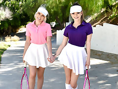 Allie Nicole and Athena Faris are full tennis nerds. Since they are stepsisters, they grew up adoring Venus, Serena, and all the other incredible tennis stars they observe on TV. Today, they slink by one of their idols security and knock on his front door