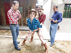 The 2 cowboys bring their stepdaughters inwards and glide their big hogs inwards their taut youthful pussies. The gals go for some wild rides, bouncing up and down on each others dads big dicks. Then, the guys burst a massive helping of cum on the gals fa