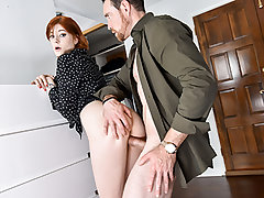 Ava is so revved on by her getting fucked by a father-son tag team, that she gets on her knees behind the door and starts fellating the step-dads pipe while he violates the door to converse to his step-son.  When his sonny is gone and he closes the door t