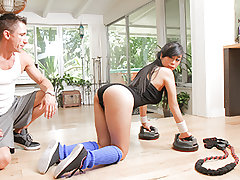 Giant and huge-titted Jade Kush has set herself up with quite the rigorous exercise regimen. Once she's cute and heated up, she has her trainer give her the realeast part of the workout, which is the hardcore sex. She works on her core as she takes that t