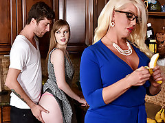 Dolly partied too rock hard and her Boyfriend had to carry her home. Her step mom Alura noticed what a uber-cute young dude he was, and determined to thank him with a BJ. This went on for days, and ultimately Dolly caught on, and joined in.