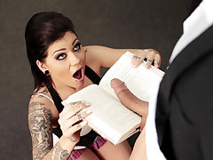 Bewitching goth student doll Karmen Karma deep throats and drills a geek fellows huge cock in swap of a college examination test answers